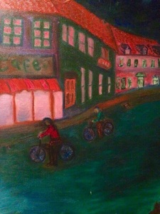 A street with bikes and pink lights - oil on canvas pauliepaul
