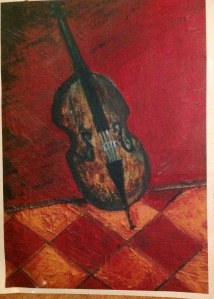 Cello on tiles oil on canvas : pauliepaul